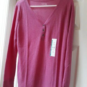 Time And Tru XL Pink Thermal Henley-New
